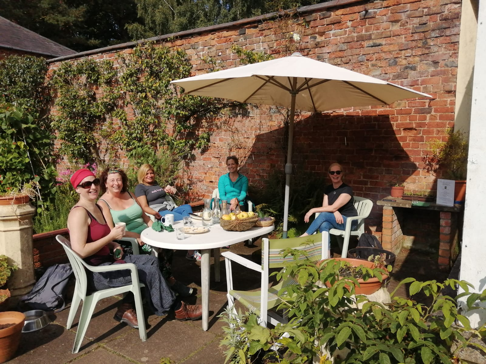 Sitting in the Victorian Walled Garden, Lunching,